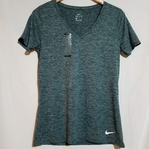 Nike | Dri fit v neck heather green